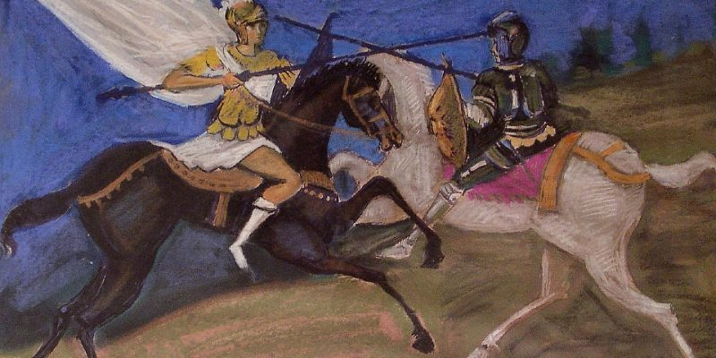 Κονταρομαχία, παστέλ σε χαρτί του Γεώργιου Κουνάλη